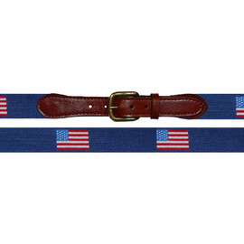 Smathers & Branson - American Flags Needlepoint Belt