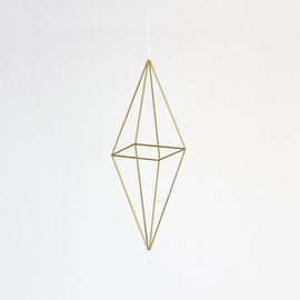 HRUSKAA - Brass Himmeli no. 1 / Modern Hanging Mobile / Geometric Sculpture / Minimalist Home Decor
