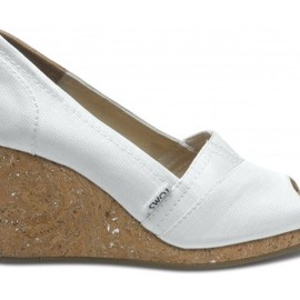 TOMS - White Grosgrain Women's Wedges