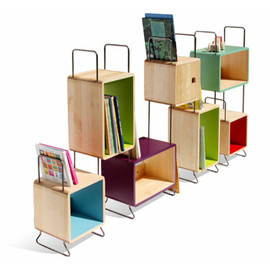 Modular Bookcase With Solid Birch Cabinets And Steel Accessories