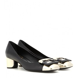 Roger Vivier - Décolleté U metallic leather pumps