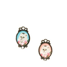 asos - Image 1 of Limited Edition Mismatch Cat Cameo Earrings