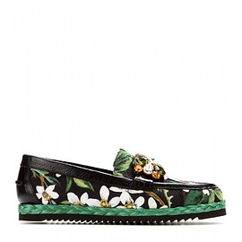 DOLCE&GABBANA - Embellished brocade loafers