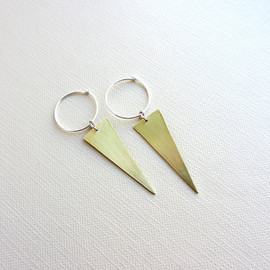 lunahoo - Gold Brass triangle earrings, Sterling silver hoop - Geometric jewelry
