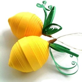Lemon Yellow Ornaments Paper Quilled.