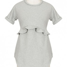 Carven - 2013/Spring■CARVEN■GREY MELANGE FLOUNCED FLEECE TOP 1