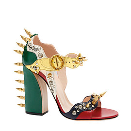 GUCCI - SS2016 Embellished metallic leather sandals