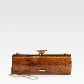 kate spade new york - Woodpecker Wood-Printed Patent Leather Clutch