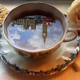 Having a cup of tea in London...