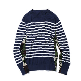 SOPHNET. - SIDE CAMOUFLAGE PANEL BORDER CREW NECK KNIT