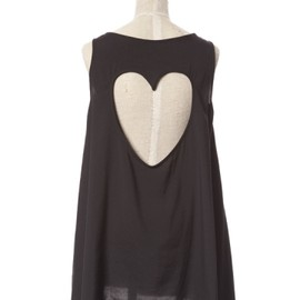 Honey mi Honey - Back heart tank tunic black
