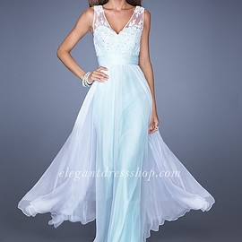 LF - White/Mint Two-Straps V-Neck Prom Gown with a White Chiffon Overlay LF19735