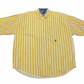 TOMMY HILFIGER - Vintage Tommy Hilfiger Yellow Striped Button Down Shirt Mens Size XXL