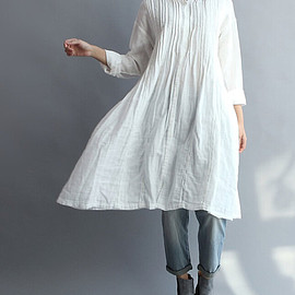 shirt - Women Cotton Long Shirt white gown