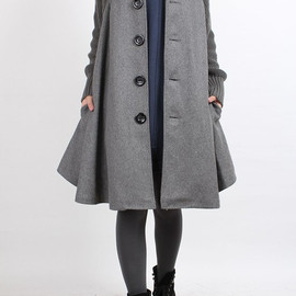 MaLieb - Knitted sleeve wool cape coat (4 color)