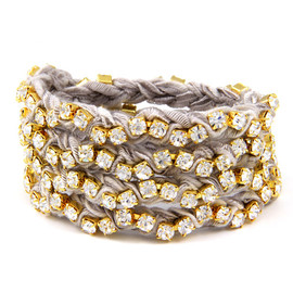 Ettika - Grey Vintage Ribbon on Gold Rhinestone Wrap Tennis Bracelet