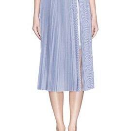 sacai luck - pleat pinstripe poplin skirt