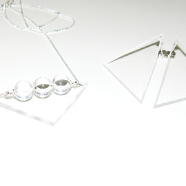 in her - Triangle plate & crystal ball necklaces , Triangle plate earring