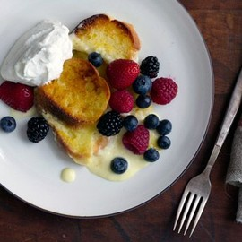 Lemon Bread Pudding with Maple-Infused Whipped Cream