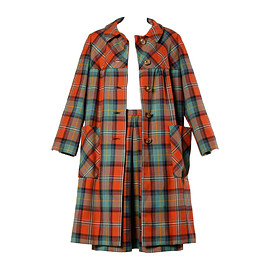I.Magnin - 1960s Vintage Plaid Wool Swing Coat + Skirt Ensemble