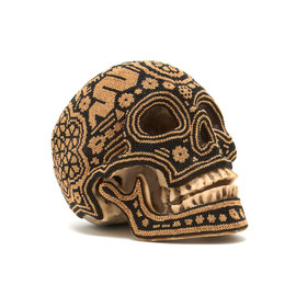 Our exQuisite Corpse - Resin Human Beaded Skull in Black/Gold