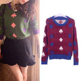 Knitted Sweater Retro Contrast Colour Poker Pattern Pullovers