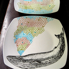 PerDozenDesign - Blue  Whale Geometric Design Plates hand illustrated porcelain Set of two