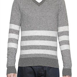 BAND OF OUTSIDERS - JACQUARD KNIT STRIPED V-NECK SWEATER