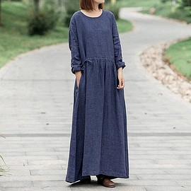 Loose dress - coffee color Maxi dress, Women cotton Loose dress, deep khaki Long dress