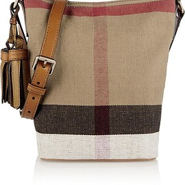 Burberry - Mini leather-trimmed checked canvas shoulder bag