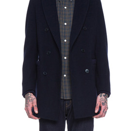 BAND OF OUTSIDERS - Band of Outsiders Melton Reefer Coat in Navy