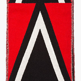 BURBERRY PRORSUM - Red & Black Triangle Pattern Woven Scarf