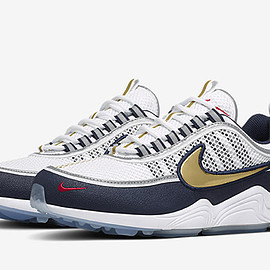 NIKE - Air Zoom Spiridon - White/Metallic Gold/Obsidian/True Red