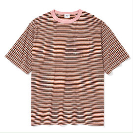Just Right - Multi Border Tee S/S Brown x Pink