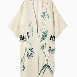 mame kurogouchi - Embroidered Pongee Coat