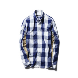SOPHNET. - BIG GINGHAM CHECK CAMOUFLAGE PANEL B.D SHIRT