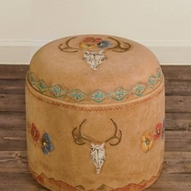 PENDLETON - Deer Skull And Poppies Ottoman