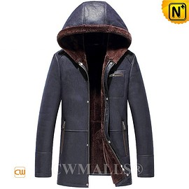 CWMALLS - CWMALLS® Navy Sheepskin Jacket with Hood CW836523