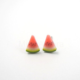 MistyAurora - Watermelon Earring Studs - Fruit Earring Posts - Red Green Earrings - Polymer Clay Jewelry