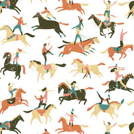 repeat Illustration folk art - Circus horses pattern