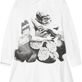 VALENTINO - Embroidered printed cotton-poplin mini dress