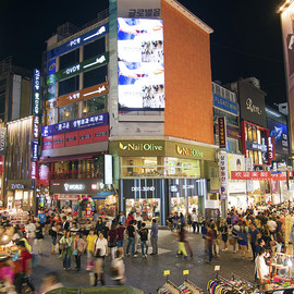 Fine Art America - Myeongdong Shopping Street In Seoul South Korea Photograph  - Myeongdong Shopping Street In Seoul South Korea Fine Art Print