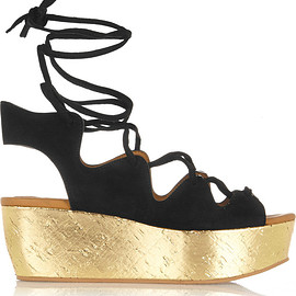 See by Chloé - SS2015 Liane metallic cork and suede wedge sandals