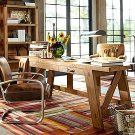"Pottery Barn - ""Hendrix Large Smart Technology™ Desk"" + ""Archer Leather & Metal Desk Chair"""