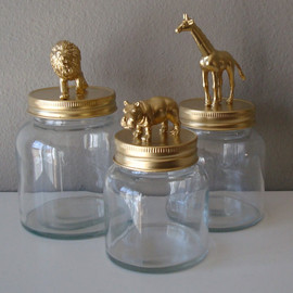 home decor storage jars: gold, lion, giraffe, hippo