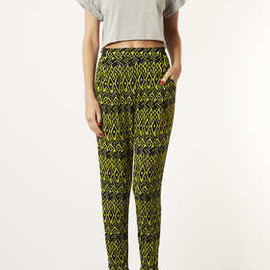 TOPSHOP - Bright Aztec Jersey Tapered Trousers