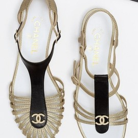 CHANEL - Lambskin jeweled sandals