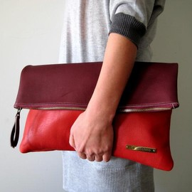 yucchino - BICOLOR CLUTCH bordeaux X red