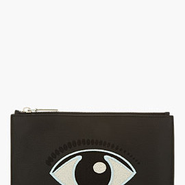 KENZO - Black Leather Zippered Eye Pouch