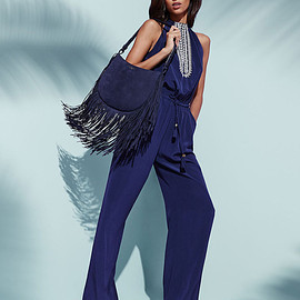 Tory Burch - Tory Burch Embroidered Halter Silk Jumpsuit